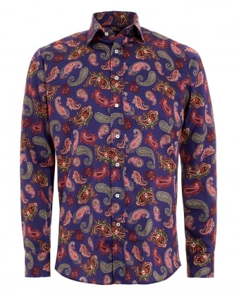 Mens Purple Paisley Printed Shirt