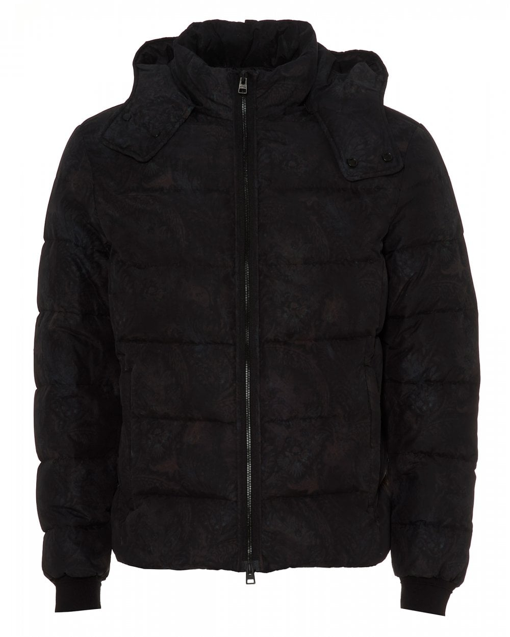 25ec78fc Mens Quilted Floral Puffa, Black Hooded Puffer Jacket