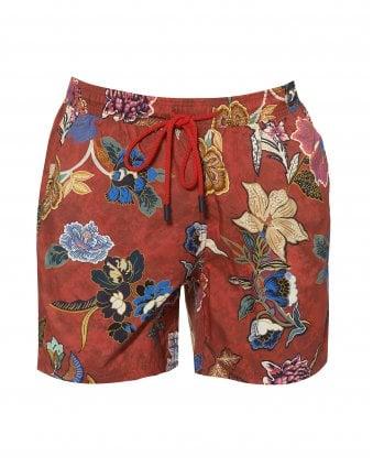b2e9675f0f Mens Red Floral Print Swimshorts, Multicoloured Swimming Trunks