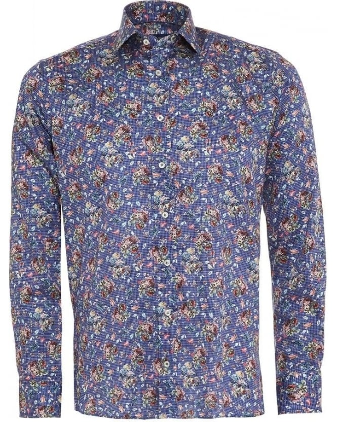 Etro Mens Shirt Micro Check, Floral Blue Regular Fit Shirt