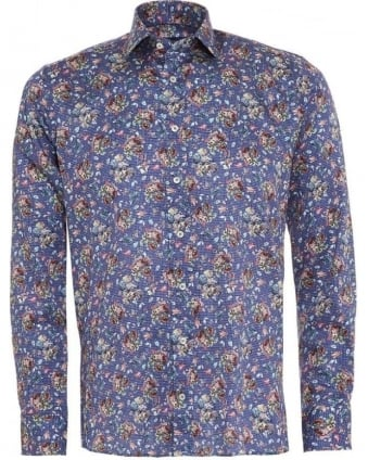 Mens Shirt Micro Check, Floral Blue Regular Fit Shirt