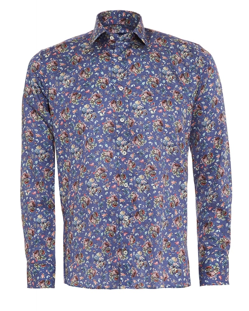 Etro mens shirt micro check floral blue regular fit shirt for Etro men s shirts