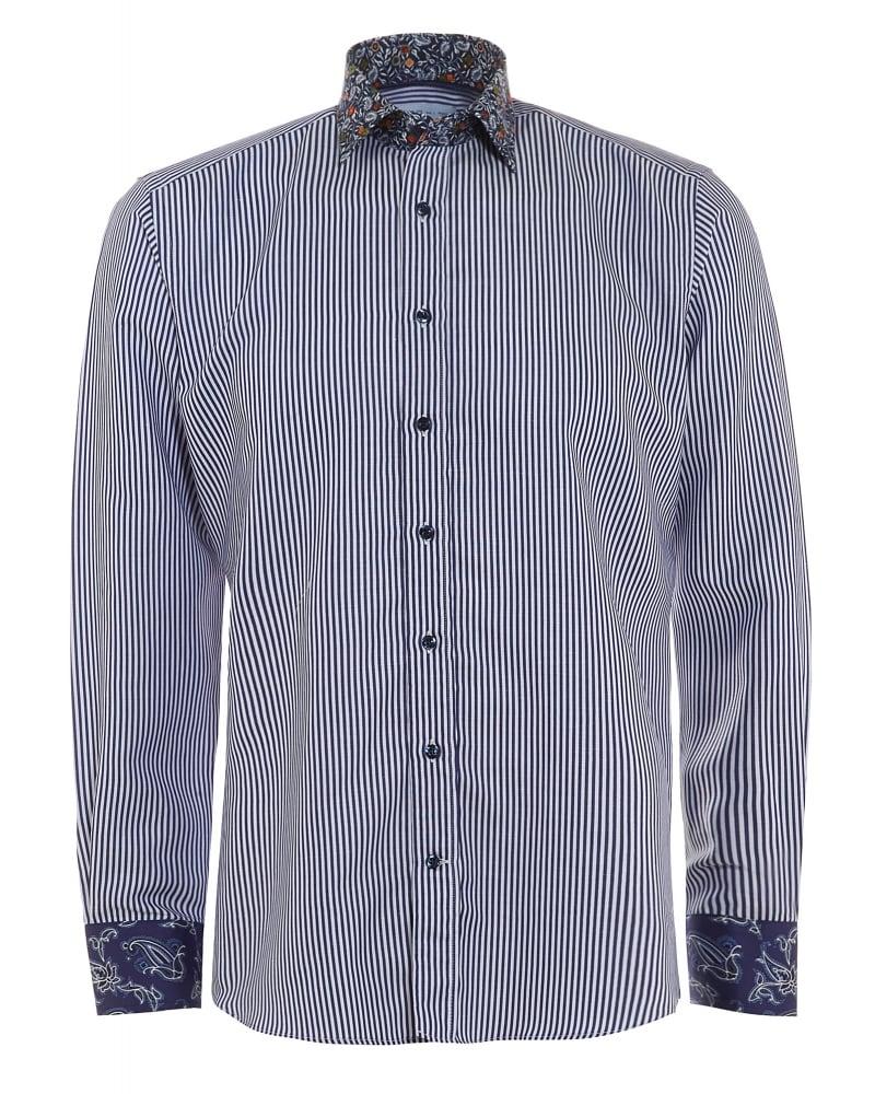 ETRO Mens Shirt Striped Contrast Print Regular Fit Navy ...