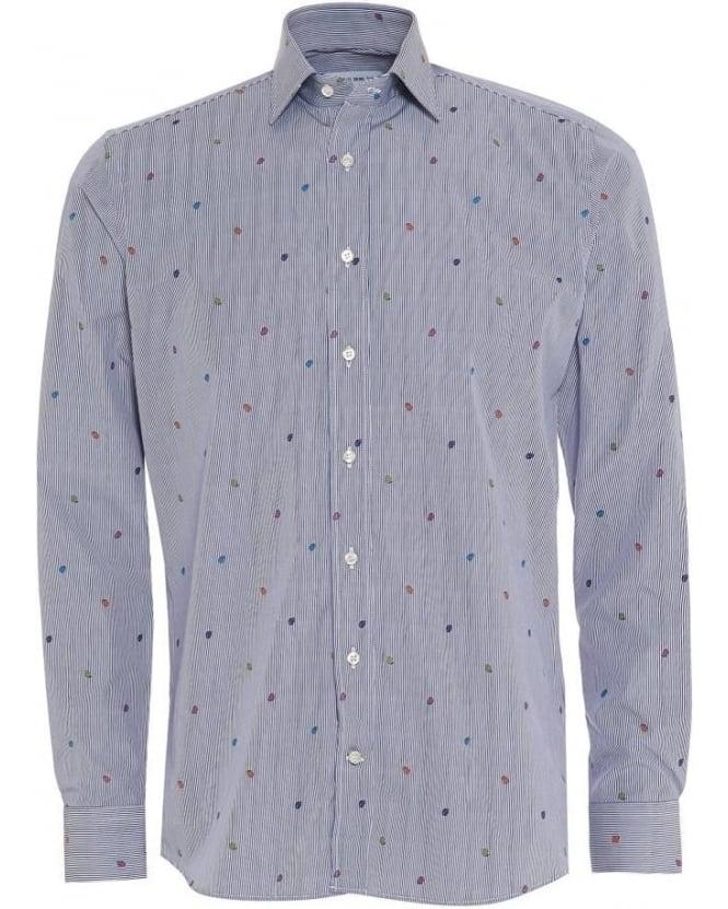 ETRO Mens Shirt Striped Ladybird Regular Fit Blue Shirt