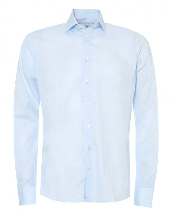 Etro Mens Sky Blue Cotton Jacquard Shirt