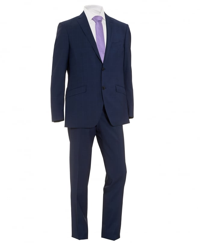 Etro Mens Small Check Suit, Two Button Blue Wool Suit