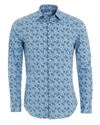 Mens Small Floral Print Shirt, Regular Fit Blue Shirt