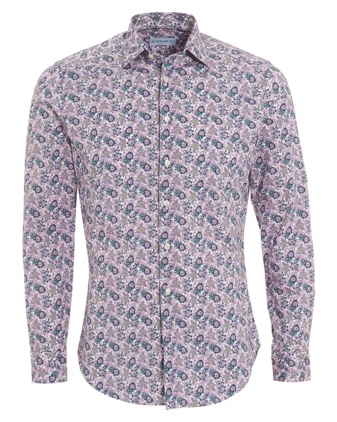 Etro Mens Small Floral Print Shirt, Regular Fit Pink Shirt