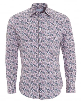 Mens Small Floral Print Shirt, Regular Fit Pink Shirt