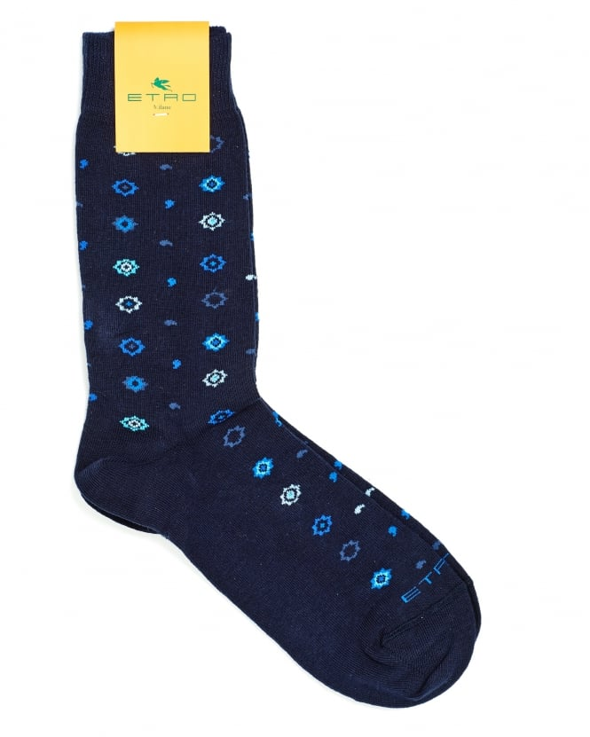 Etro Mens Socks, All Over Stars And Squiggles Print Navy Socks
