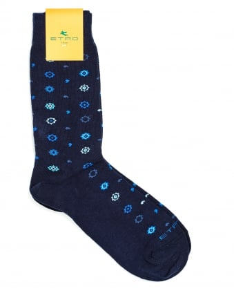 Mens Socks, All Over Stars And Squiggles Print Navy Socks