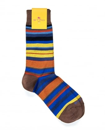 Mens Socks, Horizontal Stripe Blue Brown Yellow Socks