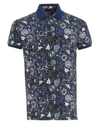 Mens Solid Cuffs Collar Polo Shirt, Floral Print Black Blue Polo