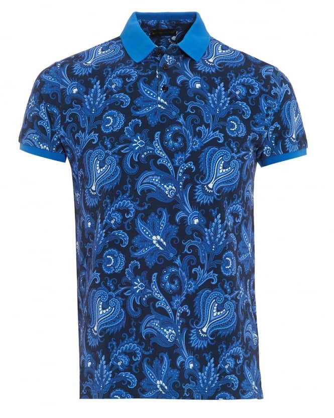 Etro Mens Solid Cuffs Collar Polo Shirt, Paisley Print Blue Navy Polo