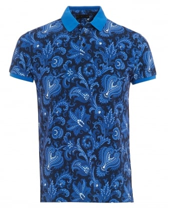 Mens Solid Cuffs Collar Polo Shirt, Paisley Print Blue Navy Polo