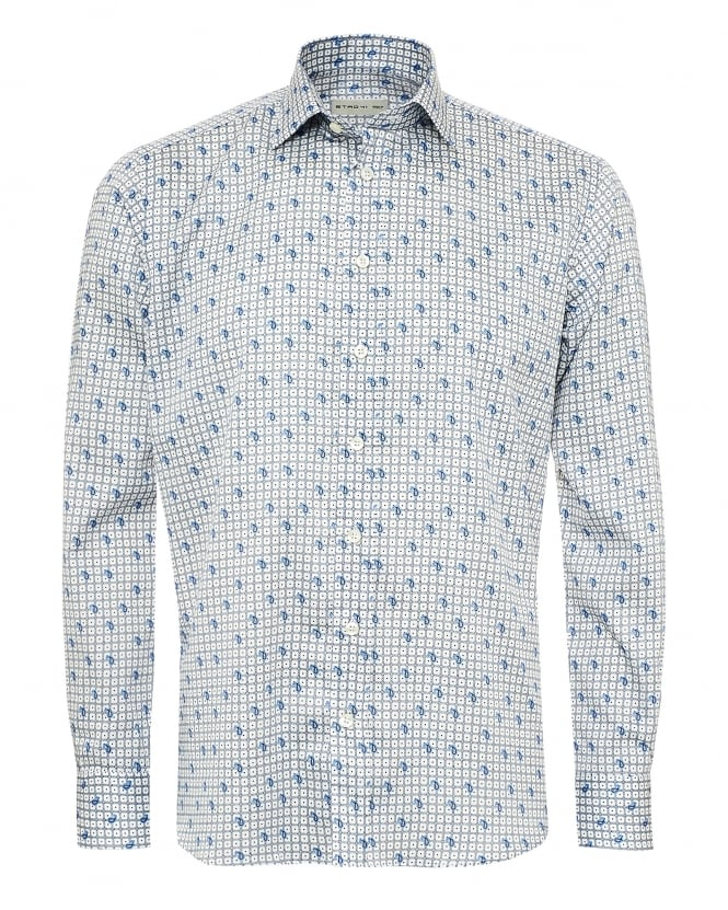 Etro Mens Square Chains & Paisley Print Shirt, Regular Fit Sky Blue Shirt