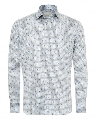 Mens Square Chains & Paisley Print Shirt, Regular Fit Sky Blue Shirt