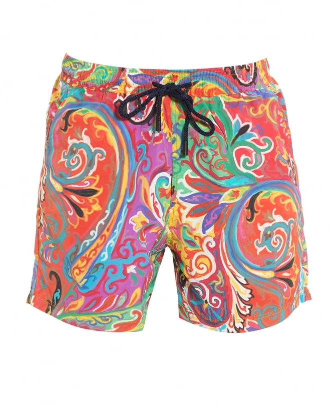Etro Mens Swim Shorts, Painted Paisley Red Swim Shorts