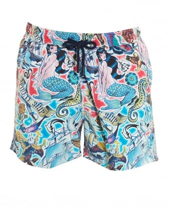 Mens Swim Shorts, Tattoo Print Blue Multi Swim Shorts