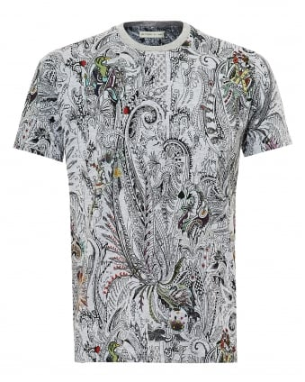 Mens Tattoo & Cards Print T-Shirt, Regular Fit Grey Tee