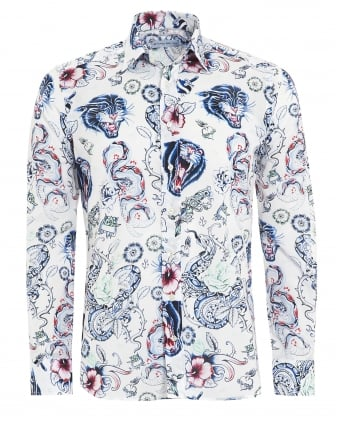 Mens Tattoo Print Shirt, Regular Fit White Shirt