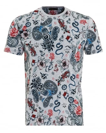Mens Tattoo Print T-Shirt, Regular Fit Grey Tee