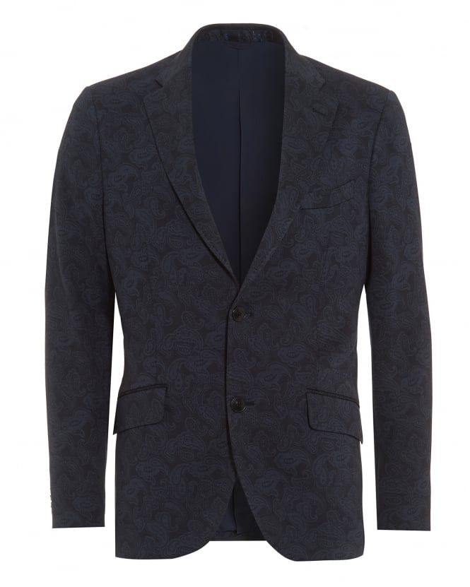 Etro Mens Tonal Paisley Print Jacket, 2 Button Navy Blazer Jacket