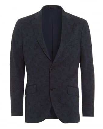 Mens Tonal Paisley Print Jacket, 2 Button Navy Blazer Jacket