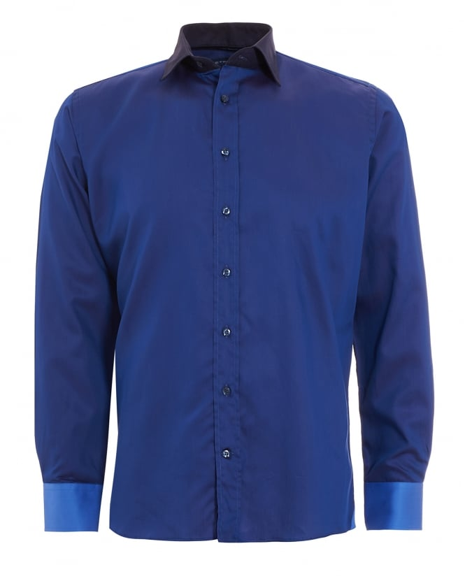 Etro Mens Triple Blue Contrast Collar Cuffs Slim Fit Shirt
