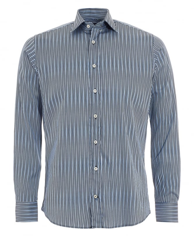 Etro Mens Wavy Stripe Shirt Navy Sky