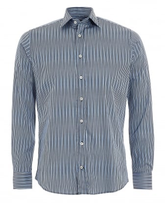 Mens Wavy Stripe Shirt Navy Sky