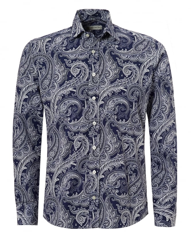 Etro Mens White Large Paisley Regular Fit Navy White Shirt