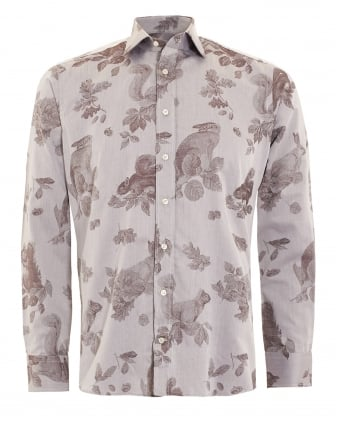 Mens Wildlife Rabbit Print Slim Fit Shirt