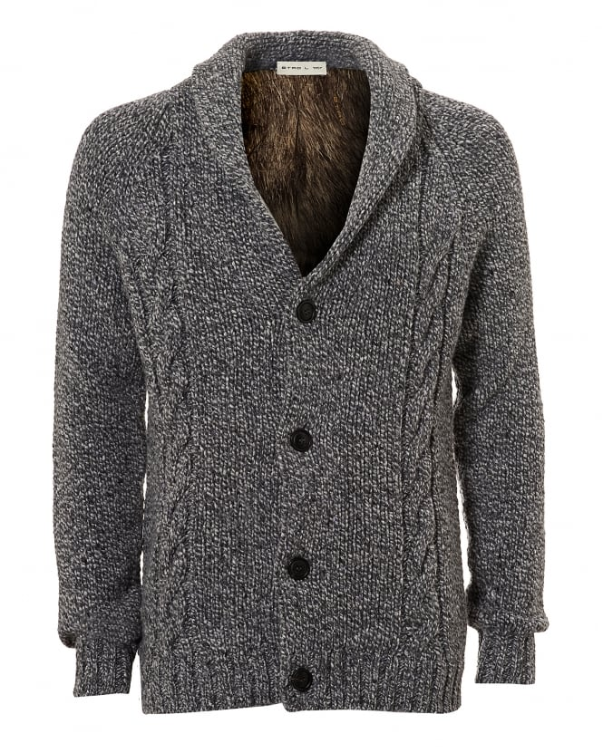 Etro Mens Wolf Lined Cardigan, Loose Weave Wool Grey Jacket