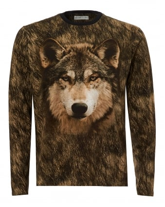 Mens Wolf T-Shirt, Long Sleeve Grey Tee