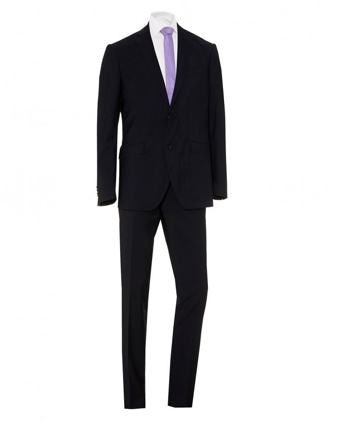 Etro Mens Wool Paisley Lined Regular Fit Navy Blue Suit