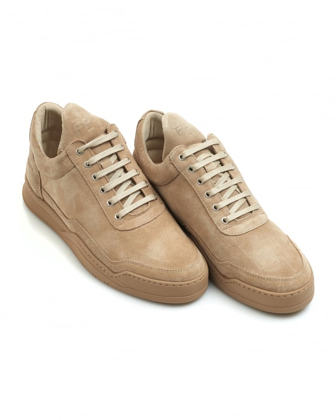 Filling Pieces Mens Ghost Suede Tonal Low Top Trainers, Sand Sneakers