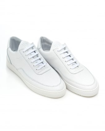 Mens Low Mondo Trainers, White Perforated Nappa Leather Sneakers
