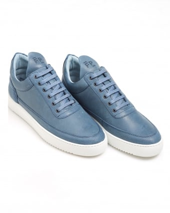 Mens Low Top Fundament Trainer, Waxed Suede Navy Sneaker