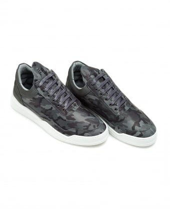 Mens Low Top Ghost Trainers, Camo Black Sneakers