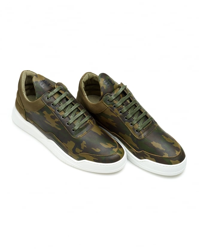 Filling Pieces Mens Low Top Ghost Trainers, Camo Green Sneakers