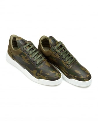 Mens Low Top Ghost Trainers, Camo Green Sneakers