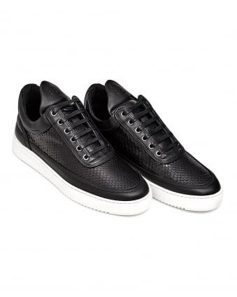 Mens Low Top Ripple Trainer, Python Effect Black Sneakers