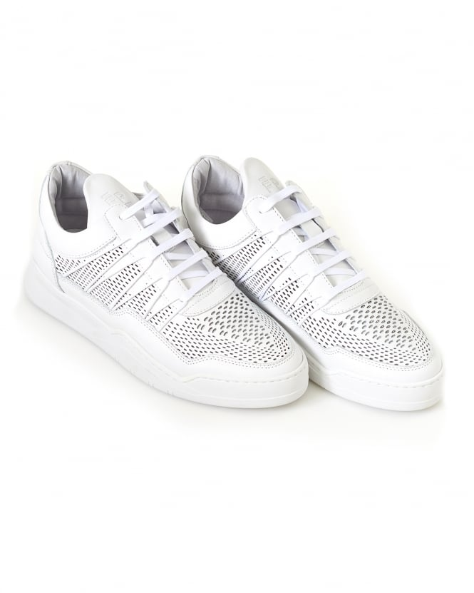 Filling Pieces Mens Low Top Trainers, Ghost Cane White Sneakers