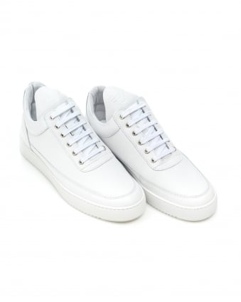 Mens Low Top Trainers, Ripple Nappa All White Sneakers