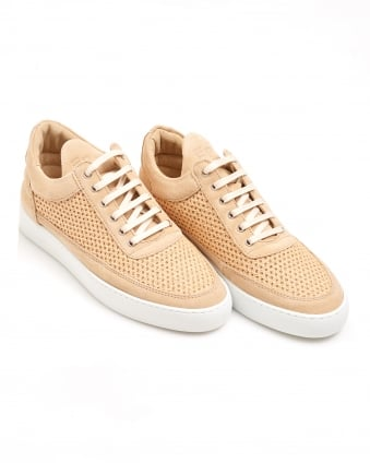 Mens Perforated Low Top Trainer, Sand Sneaker