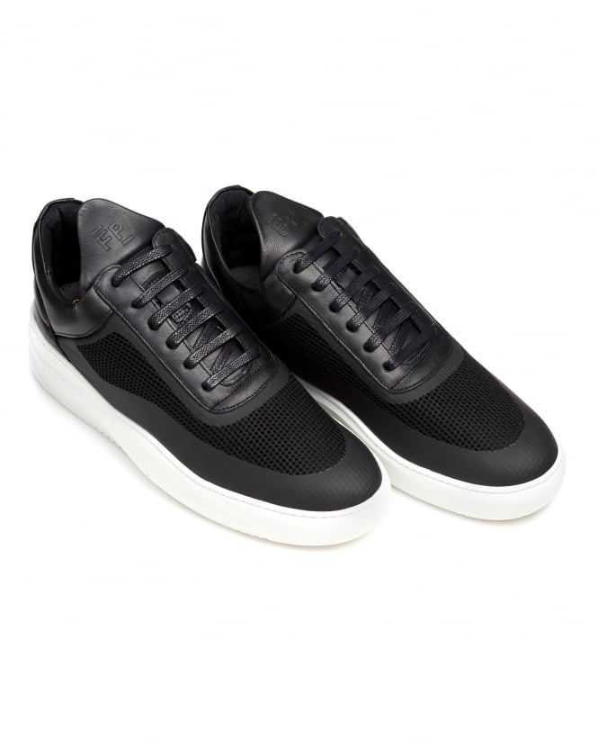 Filling Pieces Mens Sky Low Tops, Seamless Black Trainers