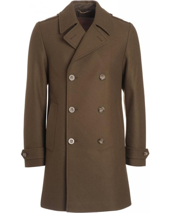 For All Mankind Army Green Military Long Wool Mix Peacoat