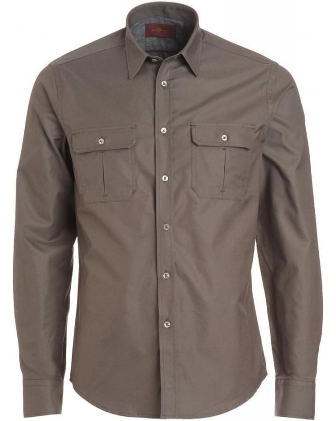 For All Mankind Army Olive Long Sleeve Cargo Shirt