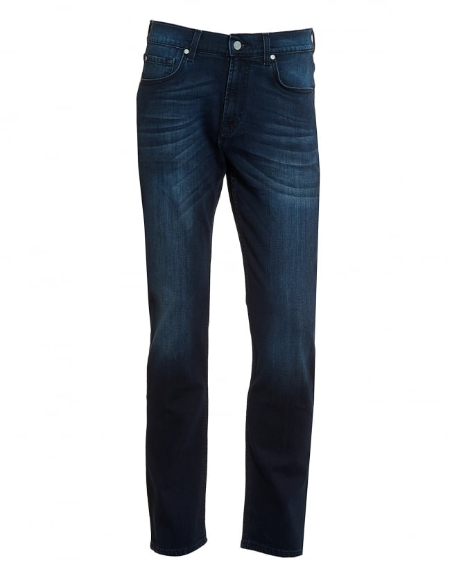 For All Mankind Mens Luxe Performance Jeans, Dark Mid Wash Whiskered Jeans
